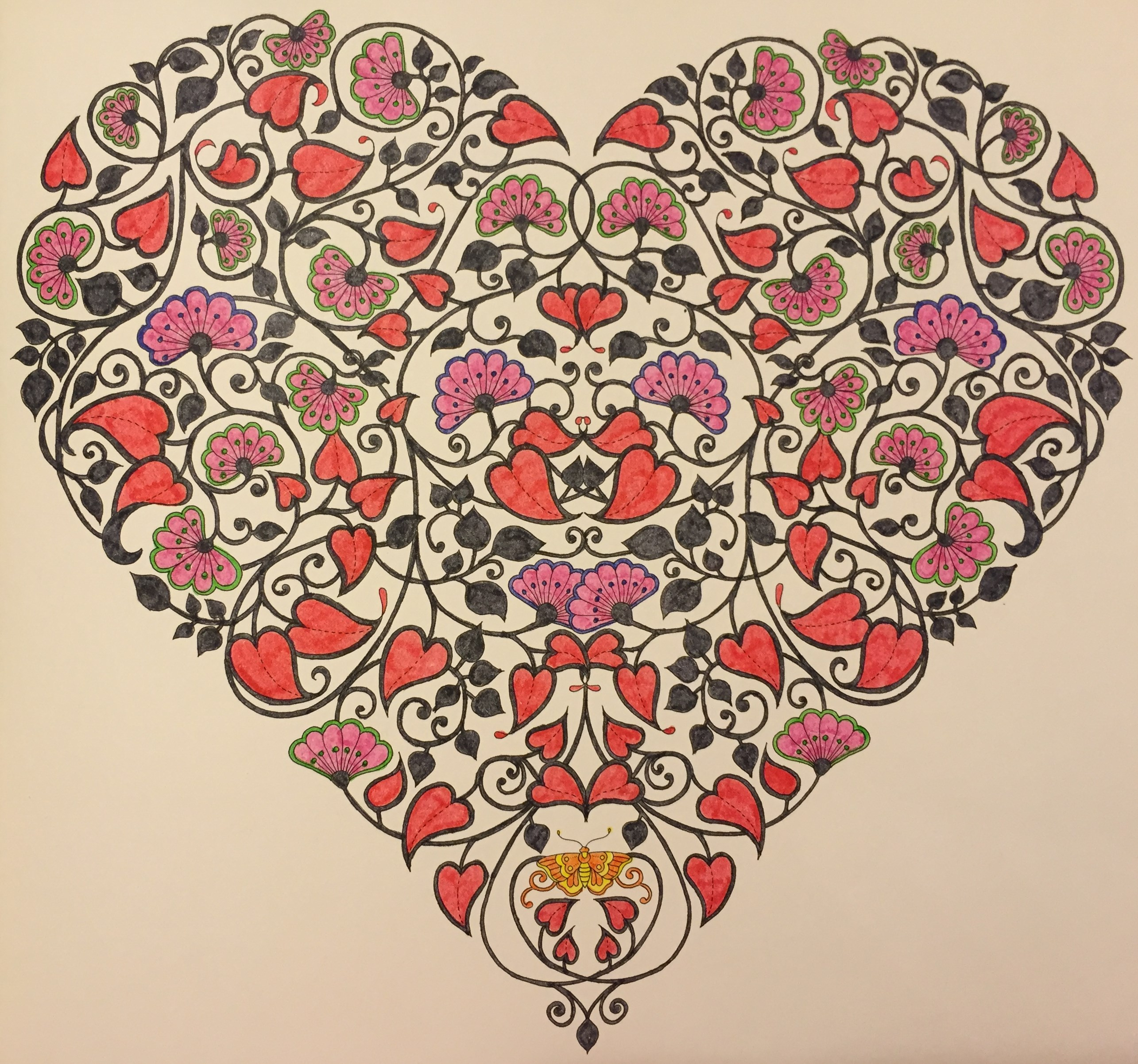 My Finished Heart Coloured With Penline Watercolour Markers From Johanna Basfords Secret Garden